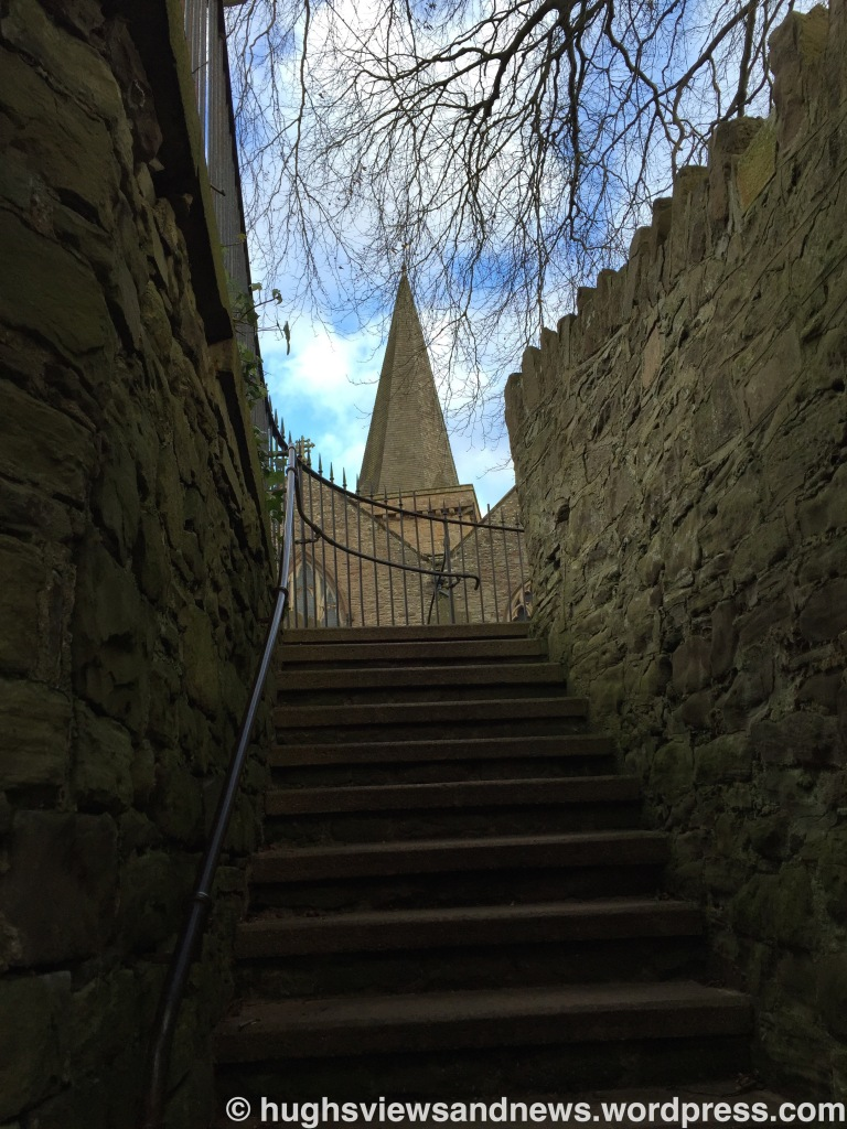 Steps to the church, Crickhowell, Powys, Wales