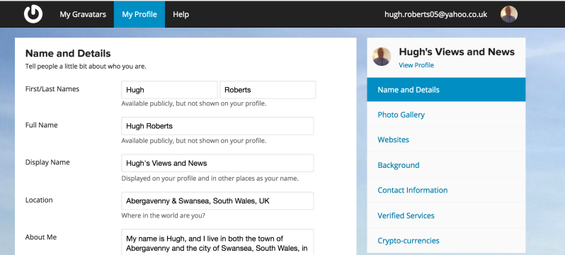 Example of Hugh's Gravatar page