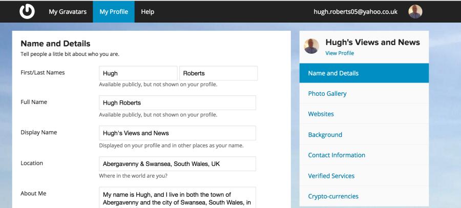 Example of Hugh's Gravatar page