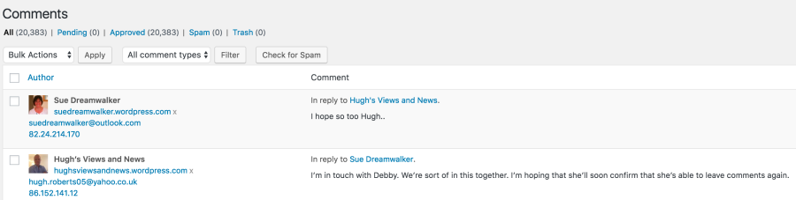 Comments dash board