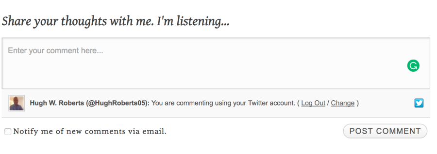 Comment box on a blog post when logged in via Twitter