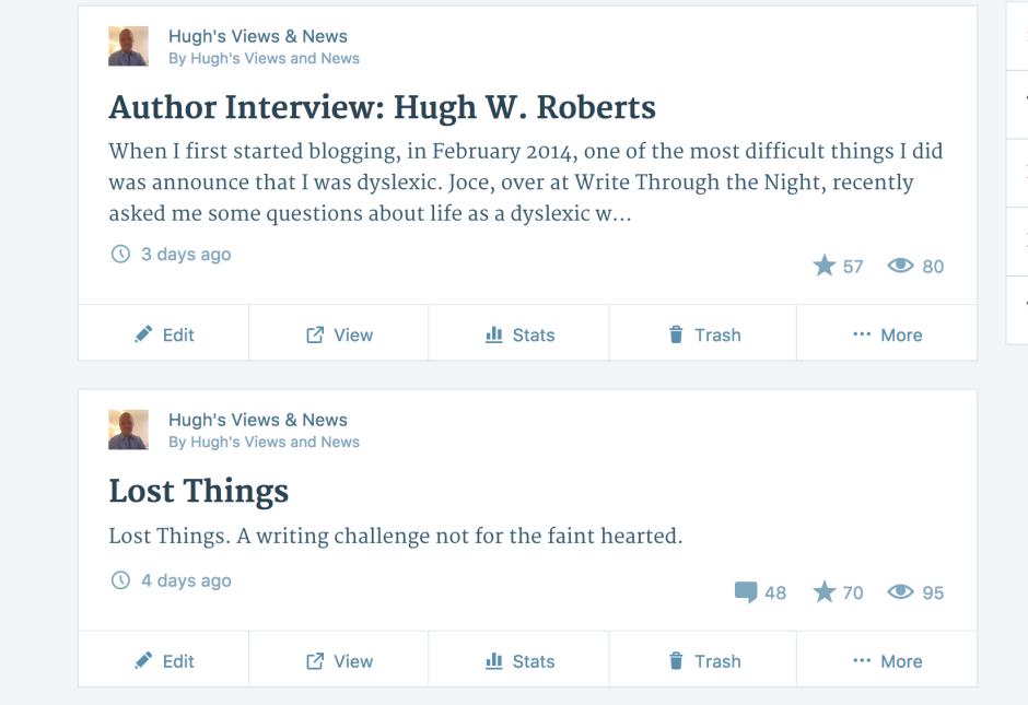 My blog posts on my WordPress dashboard
