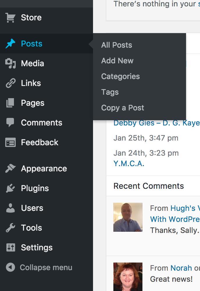 Screen shot of the dashboard of a WordPress blog