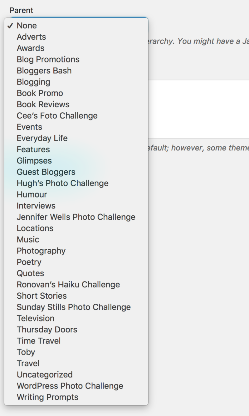 List of my blog's categories