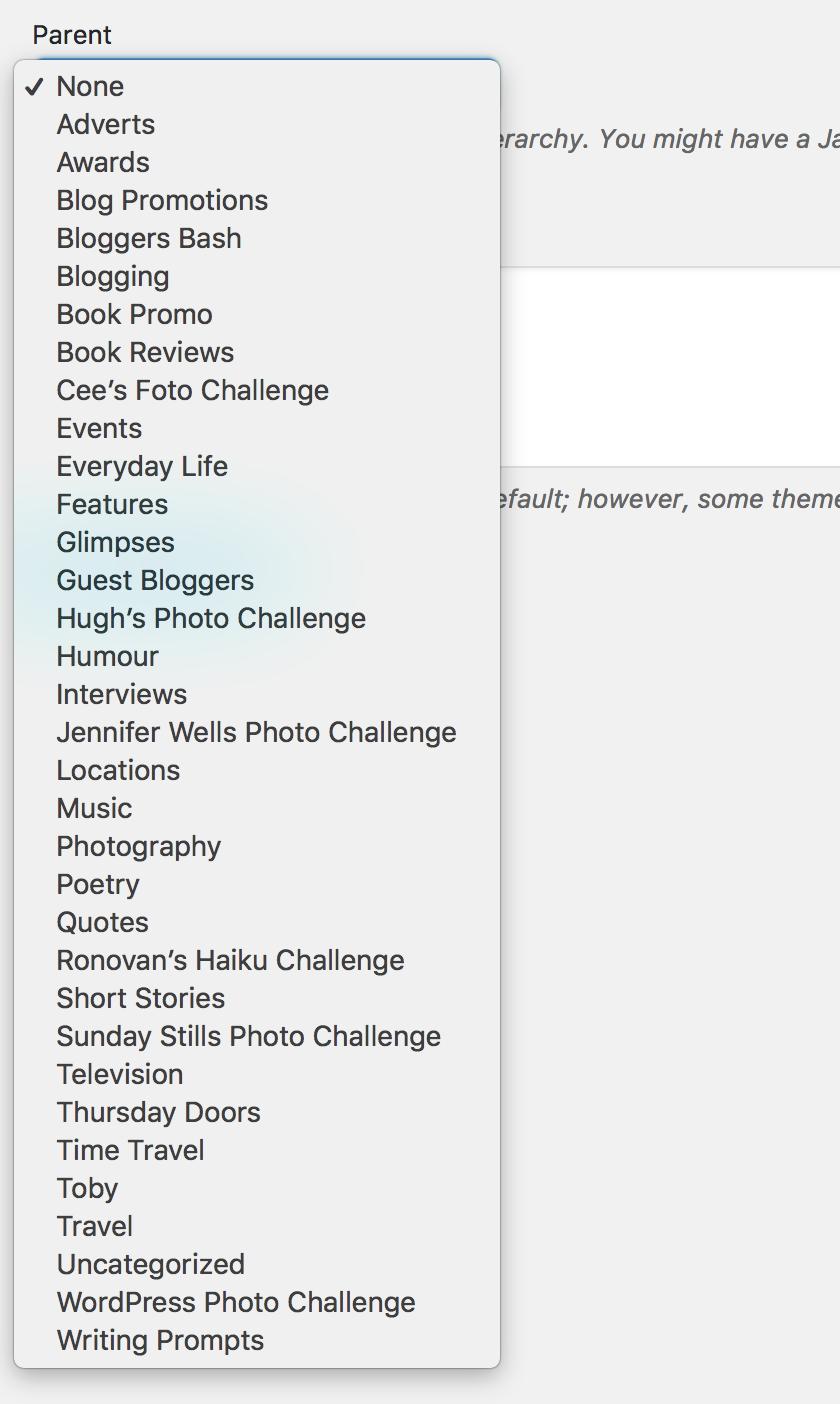 List of my blog's categories