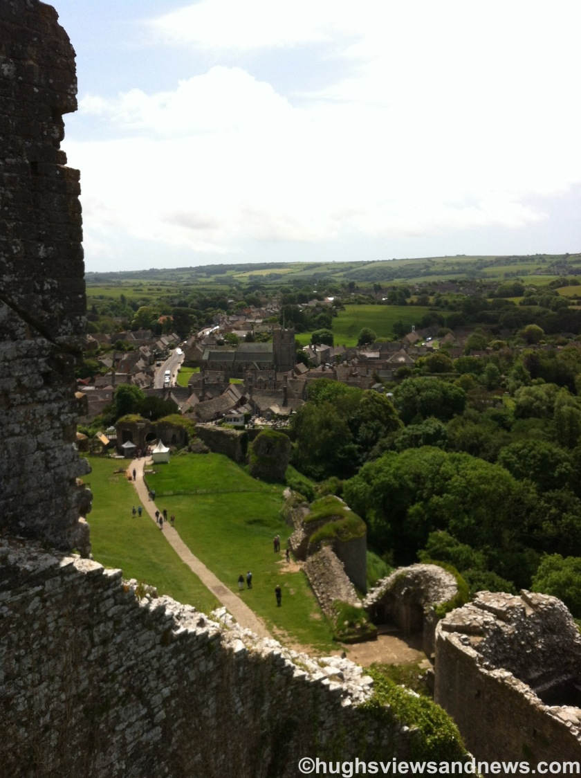 Looking down at Corfe Castle