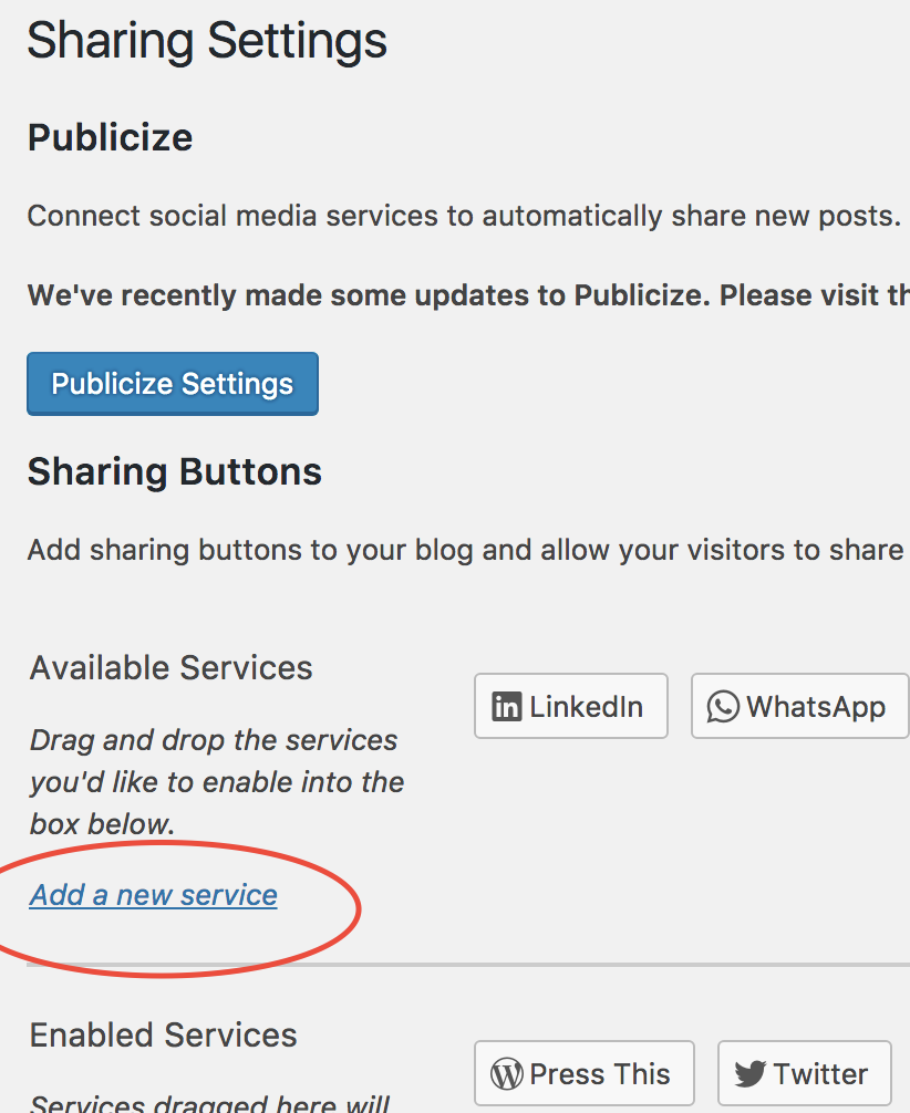 Sharing Buttons page on a #WordPress blog