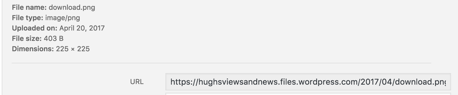 The URL address of an image from a WordPress media library