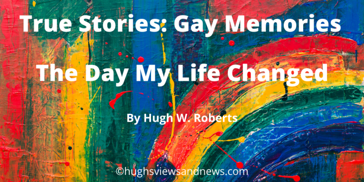 Banner for True Stories: Gay Memories - rainbow-coloured paint in the background