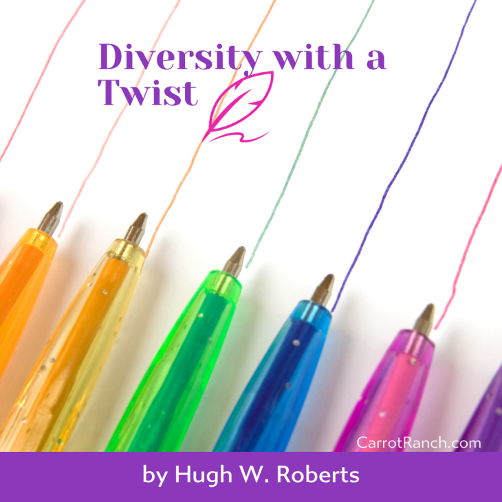 Diversity with a Twist Banner showing some coloured straight lines and pens on a white background
