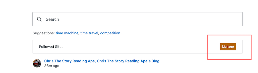 Screenshot highlighting the Manage sites button on a WordPress blog