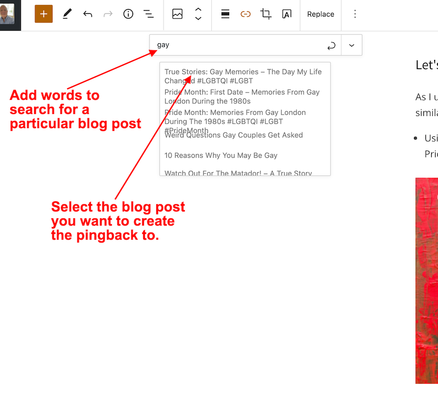 Screenshot highlighting where to search for a blog post and to select it when creating a pingback