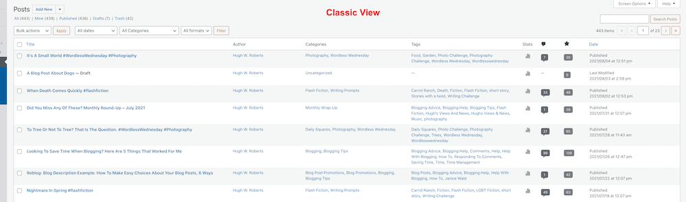 Screenshot showing the Classic view of blog posts on a WordPress blog