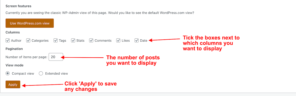 Screenshot of the options for blog posts on the Classic view options
