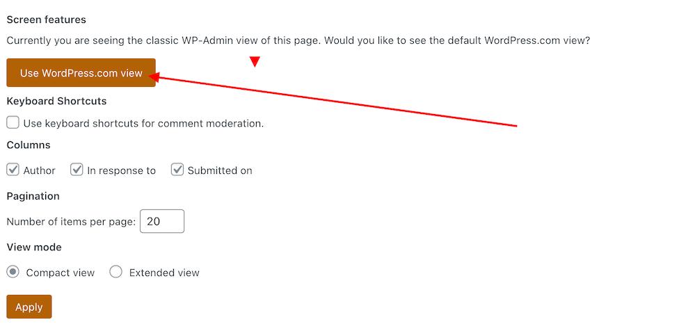 Screenshot highlighting the Default view (WordPress.com view) button