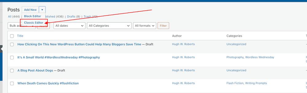 Screenshot highlighting the gateway to the old Classic editor on WordPress