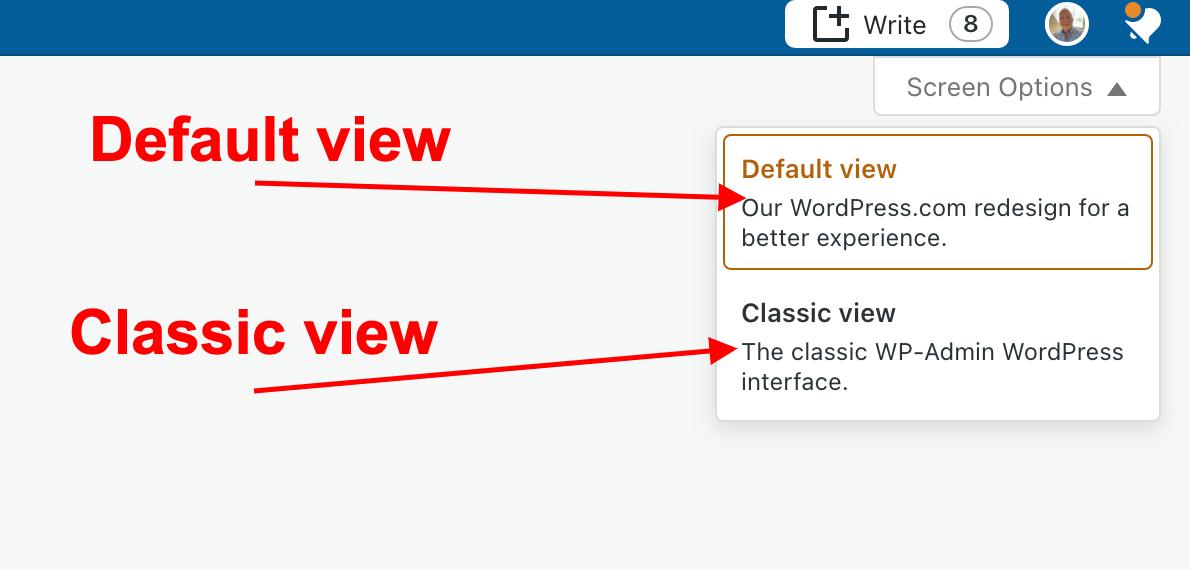 Screenshot highlighting the menu under the Screen Options button on WordPress