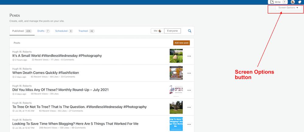 Screenshot highlighting the Screen Options button on WordPress