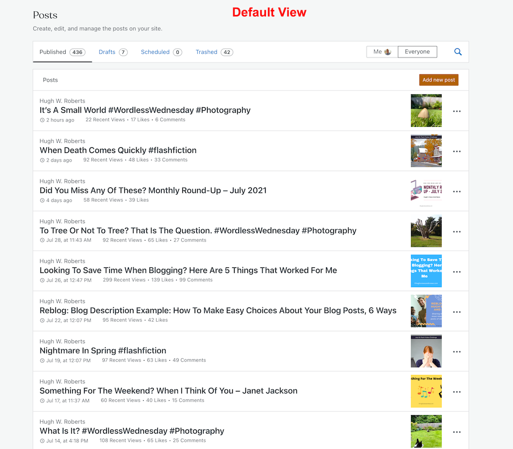 Screenshot showing the Default view of blog posts on a WordPress blog