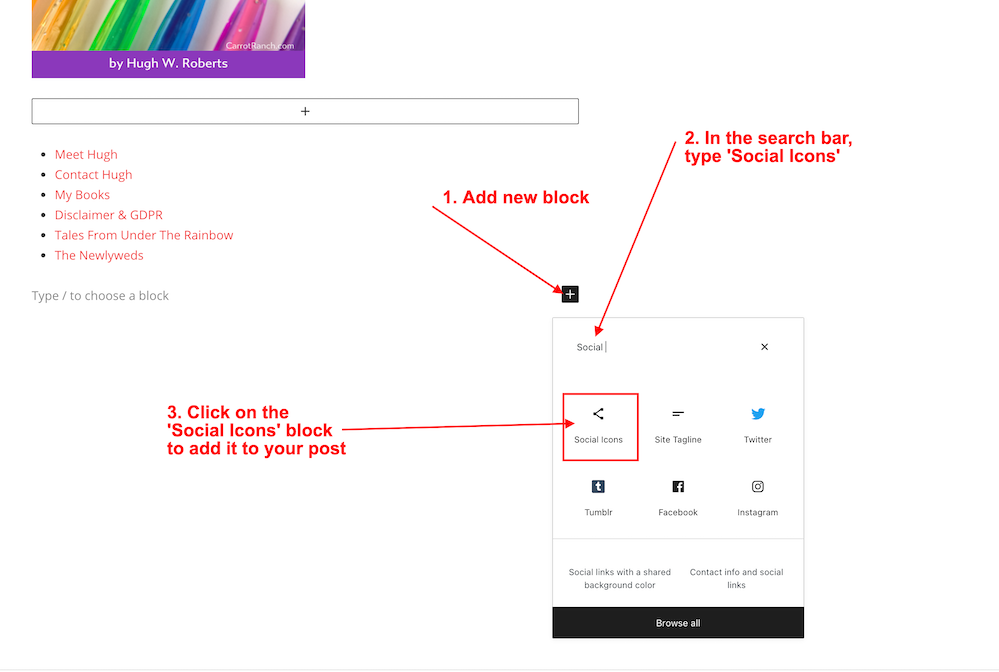 Screenshot highlighting the three steps to find and add the 'Social Icons