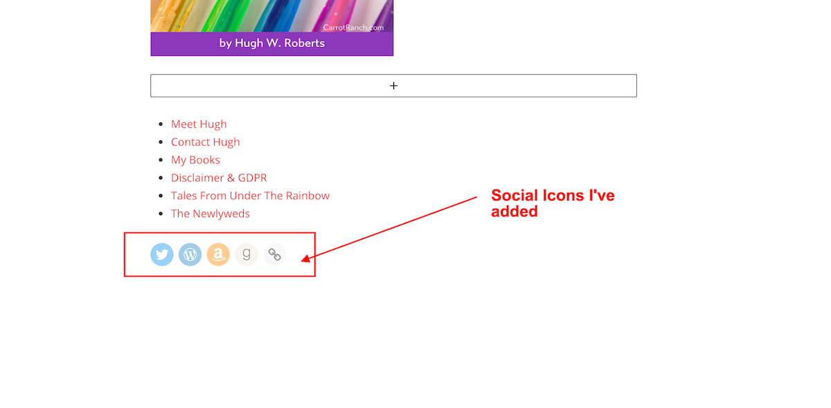 Screenshot showing the social icons added to the social icons block on WordPress