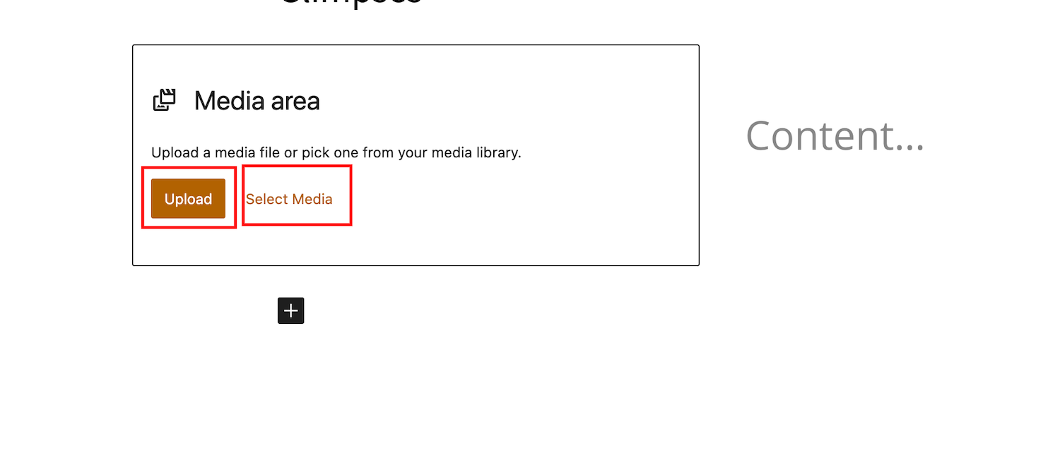 Screenshot highlighting the Upload and Select Media buttons on WordPress