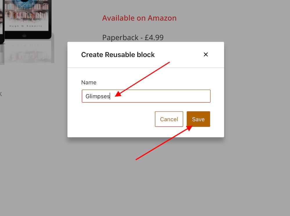 Screenshot showing how to name a reusable block on WordPress