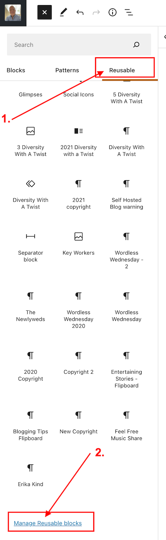 Screenshot highlighting how to edit a reusable block on WordPress