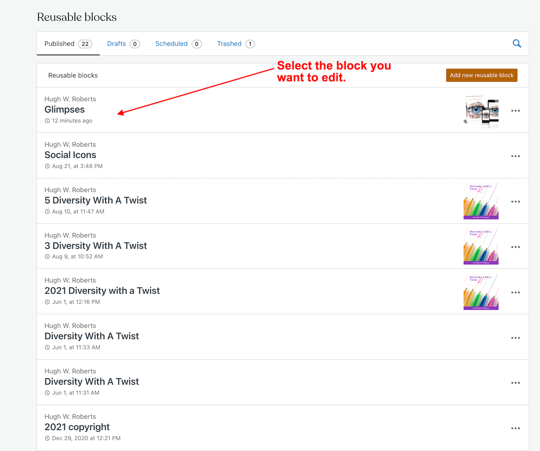 Screenshot highlighting how to select a reusable block for editing